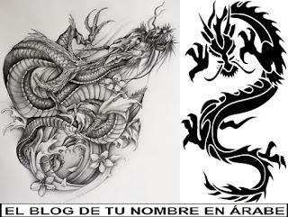 Diseños blanco y negro para tatuajes Dragon