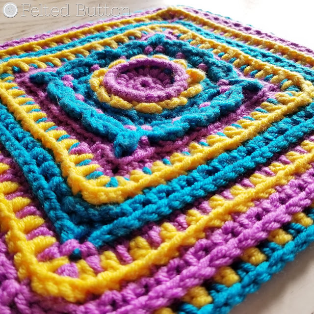 Rinske Square | free crochet pattern by Susan Carlson of Felted Button -- Colorful Crochet Patterns made with Scheepjes Chunky Monkey