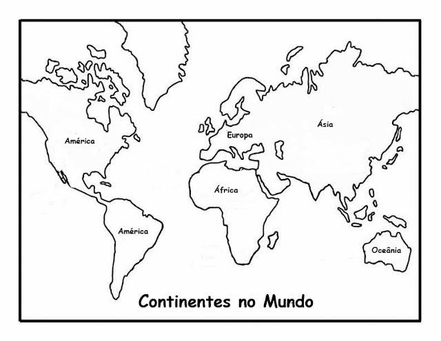 Desenhos : Desenho do Mapa do Mundo com os continentes