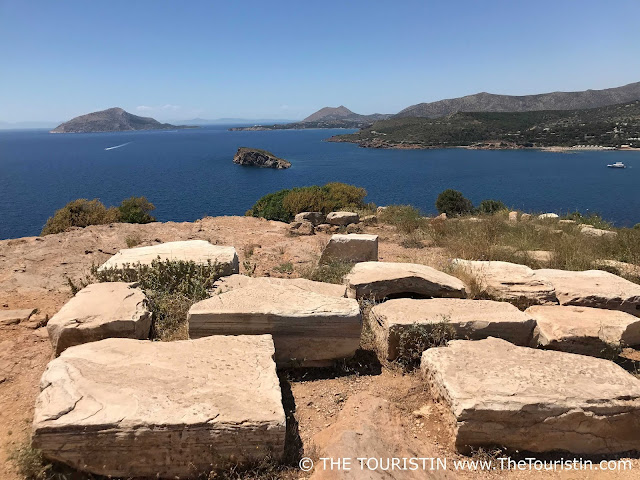 Pillars of the Temple of Poseidon with a view over the Aegean Sea