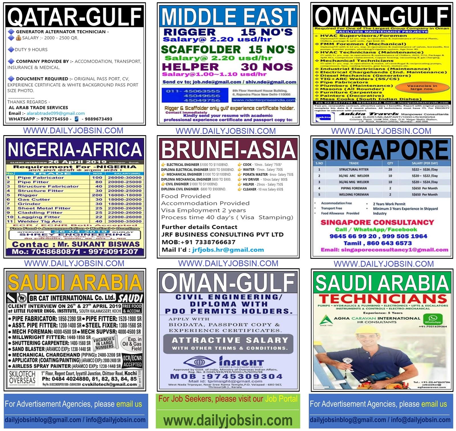 JOBS IN SINGAPORE, BRUNEI, NIGERIA-AFRICA & GULF COUNTRIES