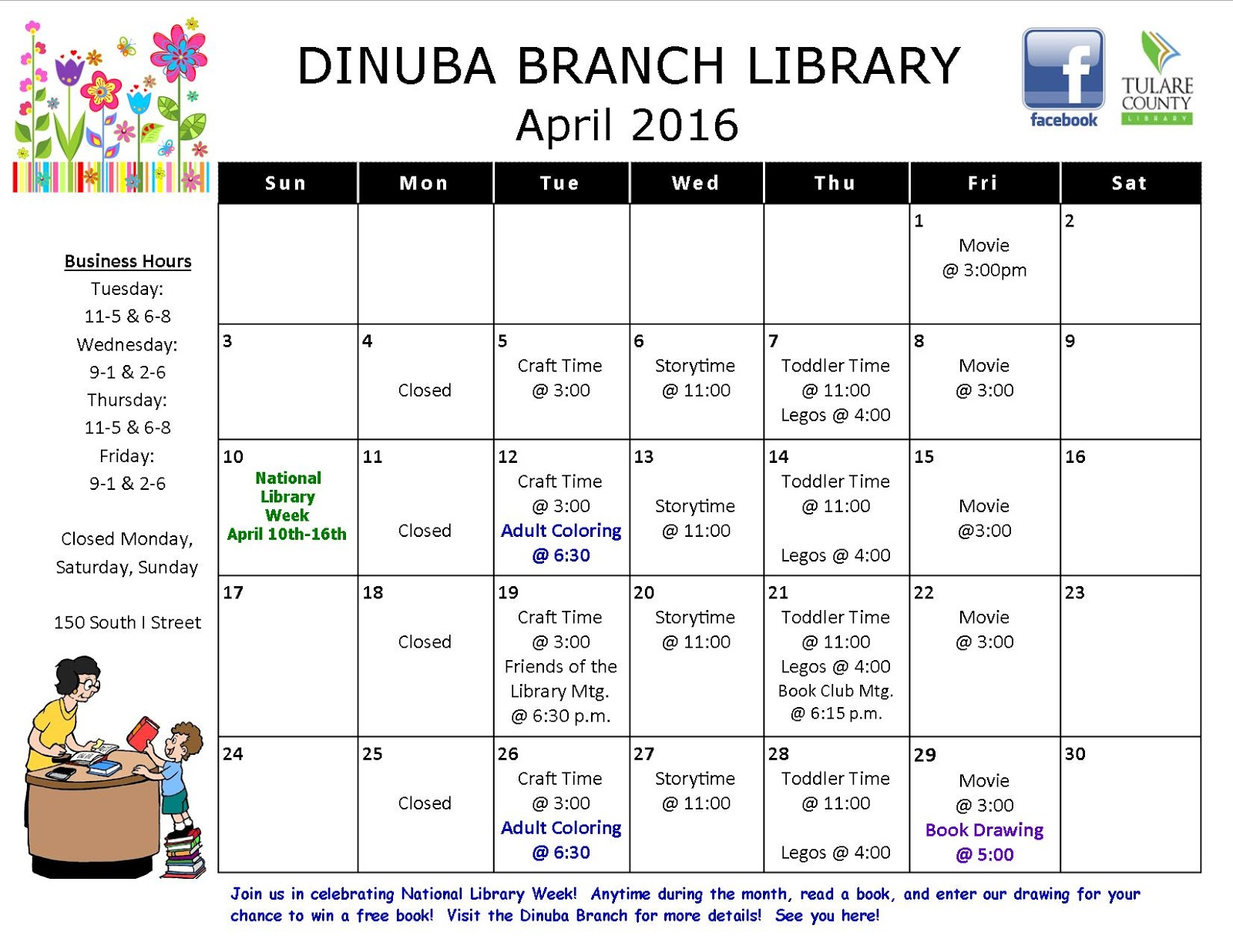 Calendar April 2016.Tulare County Library News And Events Dinuba Branch Calendar April
