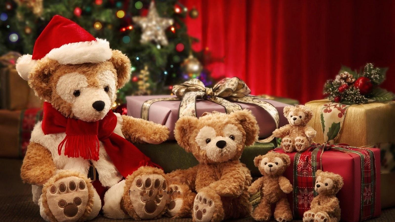 orsetti, albero di natale, regali, pacchi