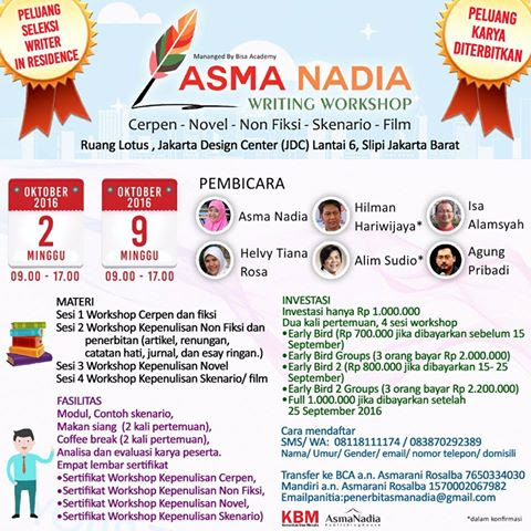 Ikut Asma Nadia National Writing Workshop Ahhh!