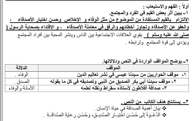 مذكرة المختصر المفيد لغة عربية يا أصدقائي للصف العاشر