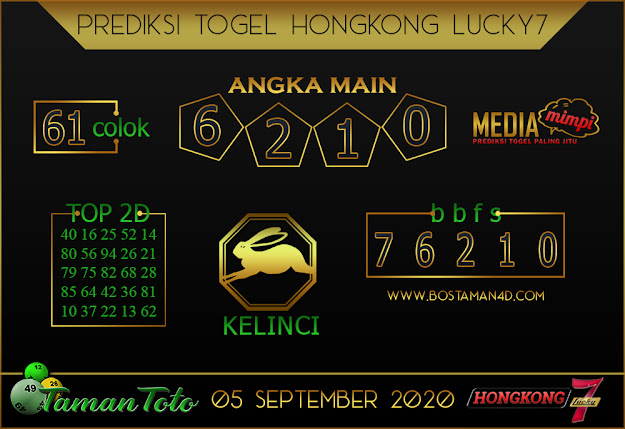 Prediksi Togel HONGKONG LUCKY 7 TAMAN TOTO 05 SEPTEMBER 2020