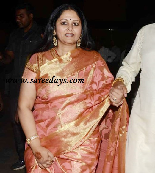 Latest saree designs jayasudha in pink silk saree checkout actress jayasudha in pink silk saree with self zari work and paired with matching short sleeves blouse altavistaventures Image collections