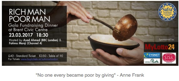 Wembley matters still time to book for thursdays rich man poor sufra nw london the largest provider of emergency food aid in the london borough of brent is organising a fundraising dinner with a twist which could forumfinder Image collections