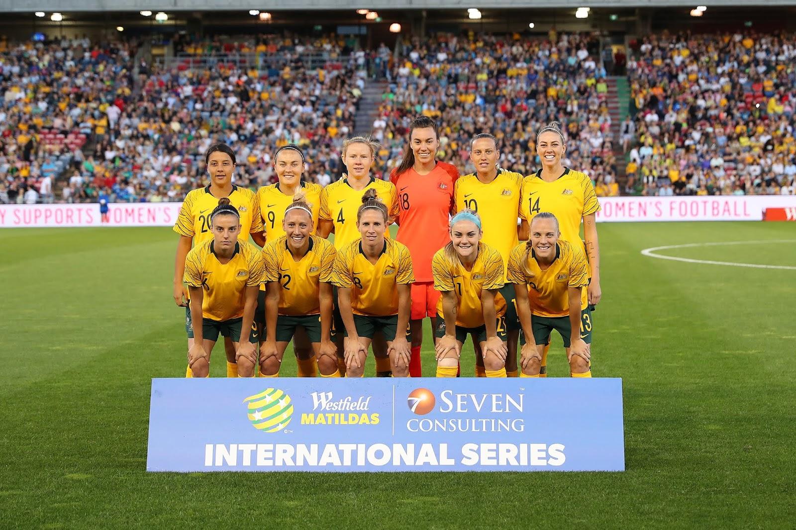 Formación de selección femenina de Australia ante Chile, amistoso disputado el 13 de noviembre de 2018