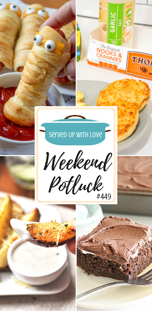 Weekend Potluck featured recipes include Marshmallow Fluff Chocolate Cake, Baked Parmesan Ranch Potato Wedges, English Muffin Garlic Toast, Mummy Dogs
