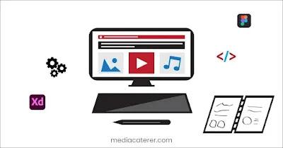 illustration of pc with web designing