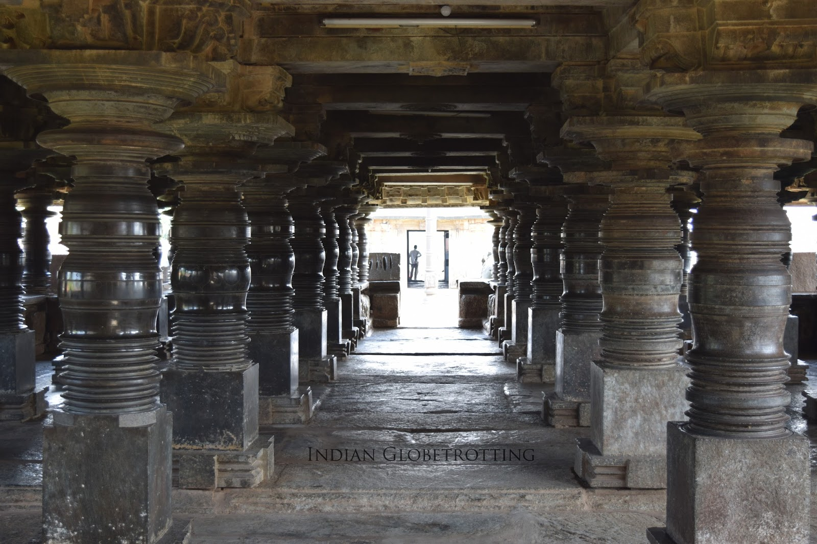 Pillared Hall of Belavadi Temple, there are a total of 108 lathe tuned pillars at belavadi veeranarayana temple