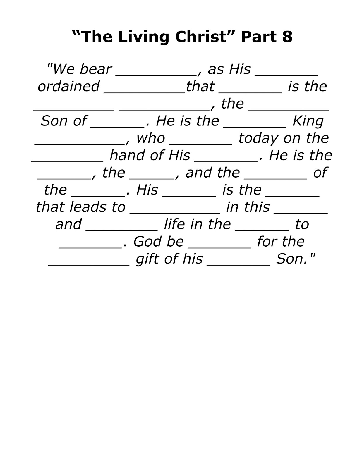 The Living Christ Songs The Living Christ Part 8