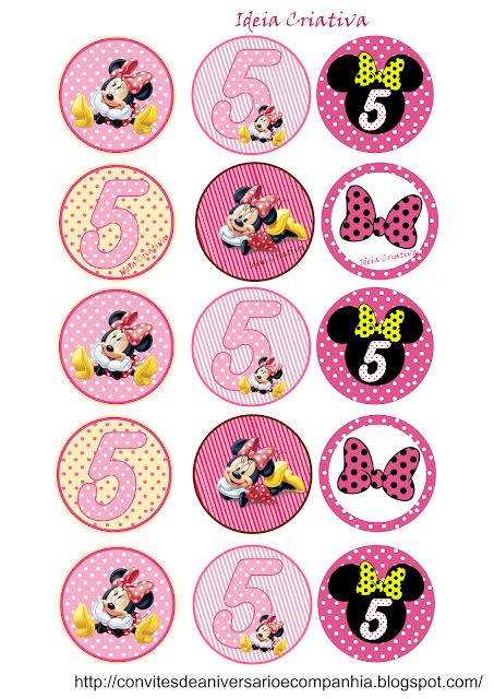 Toppers o Etiquetas de  Minnie Cumple 5 Años para imprimir gratis.