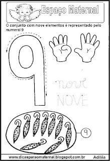 Desenho numeral 9 para colorir