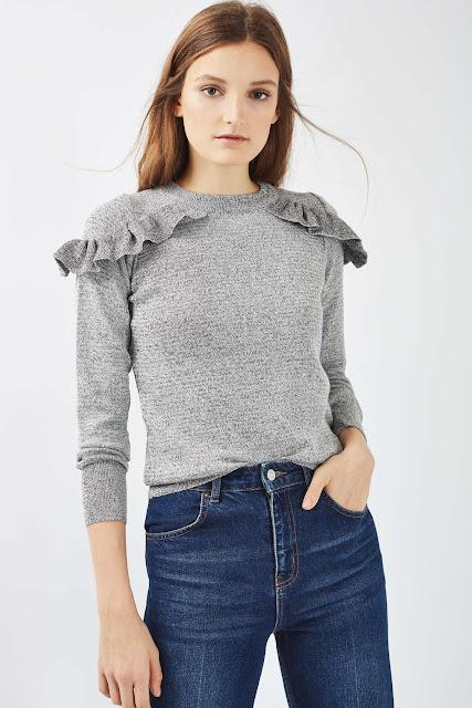grey ruffle jumper, grey frill shoulder jumper, frilly jumper,