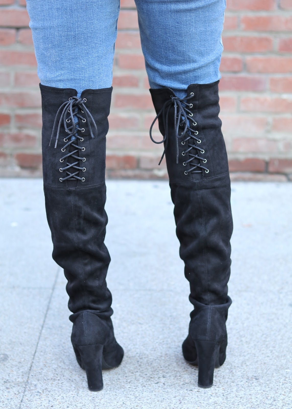 gray sweater outfit, black over the knee boots, stuart weitzman highland boots, steve madden over the knee boots