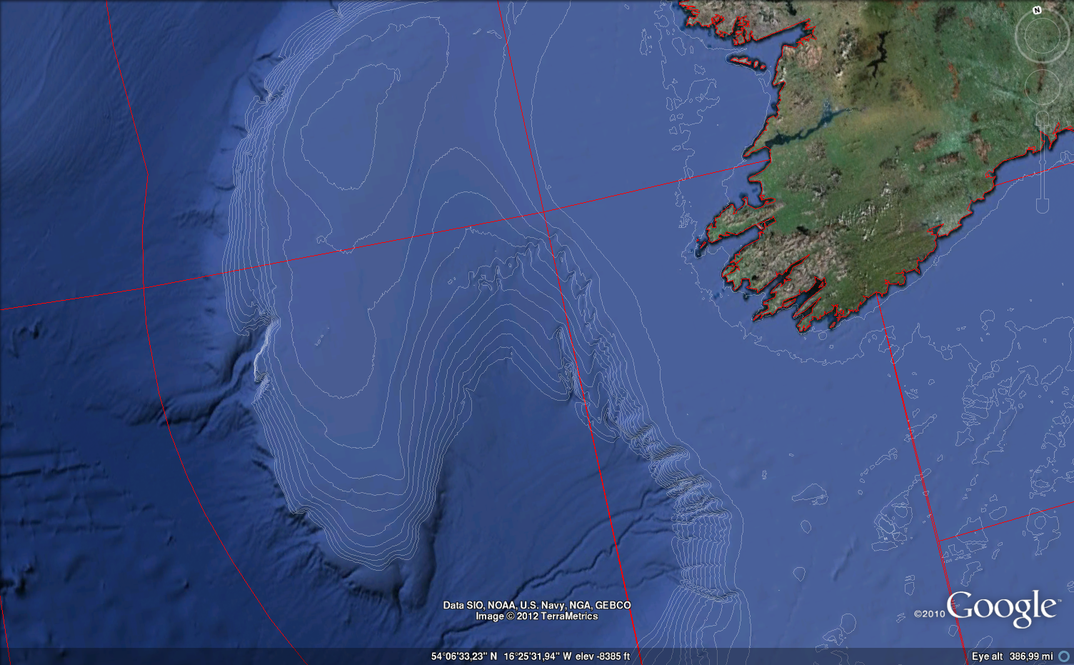 Google Earth And Ocean Depth Contours Rbloggers - Map showing ocean depths
