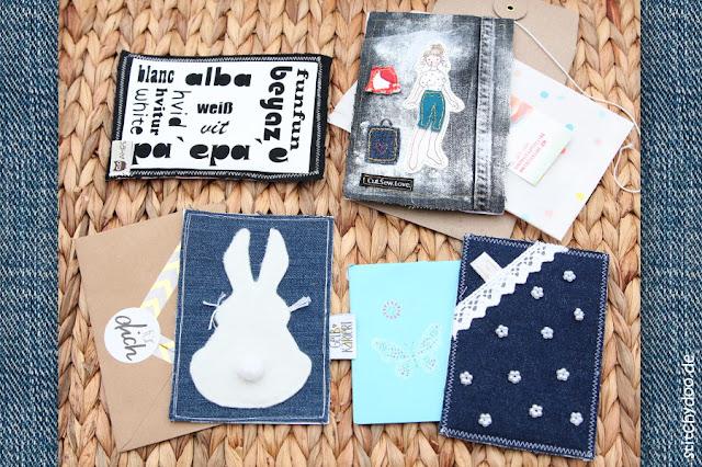 stitchydoo: Stoffkartentausch 2016 - Jeanskarten zum Thema Etwas Weißes