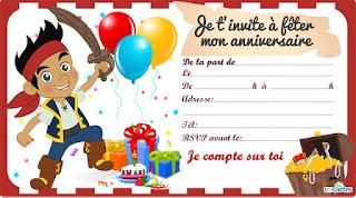 Carte anniversaire Jake et les pirates gratuites