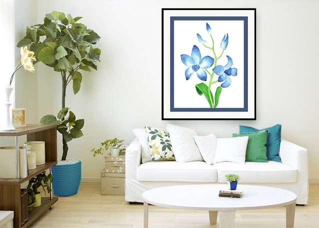 Blue Orchid Flower Watercolor Painting in interior decor of a home