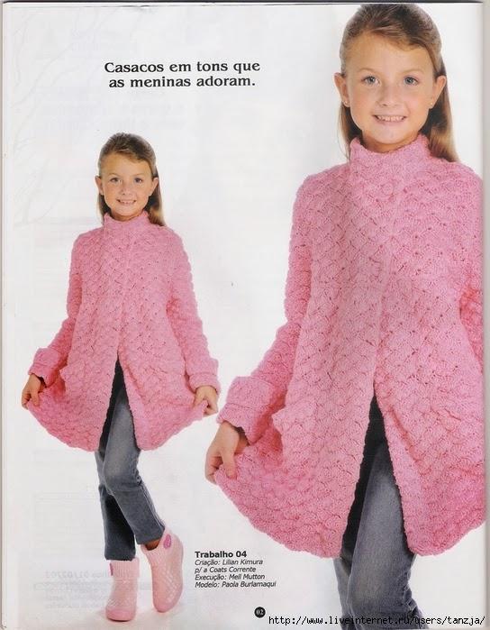 mejor lugar disfrute del envío de cortesía precio de calle TRICO y CROCHET-madona-mía: Abrigo (casaco) Rosa en crochet ...