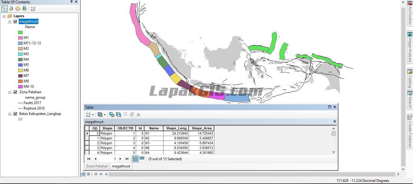 Shapefile Zona Fault (Patahan) dan Megathrust Gratis