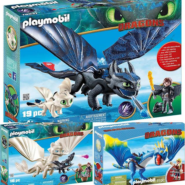 Playmobil Dragons 3 Krokmou et Harold avec bébé dragon  Furie Éclair et bébé dragon avec les enfants - Astrid et Tempête