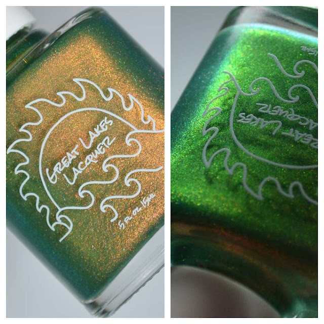 green nail polish with shimmer in a bottle