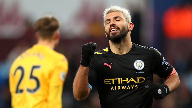 Sergio Aguero celebrates scoring his third goal during Man City 1-6 win over Aston Villa to overtake Alan Shearer for the most hat-tricks in Premier League history, with 12.
