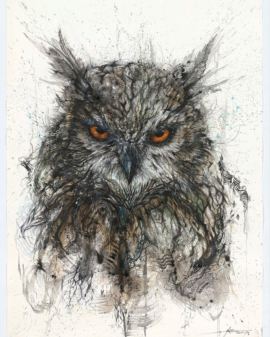 12-Owl-Hua-Tunan-Animal-Sketch-Drawings-and-Mural-Paintings-www-designstack-co
