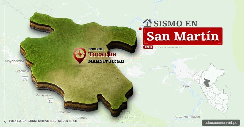 Temblor en San Martín de Magnitud 5.0 (Hoy Lunes 6 Septiembre 2021) Terremoto - Sismo - Epicentro - Tocache - Uchiza - Tarapoto - IGP - www.igp.gob.pe