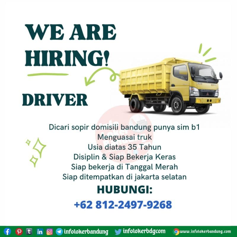 Lowongan Kerja Supir B1 Bandung Agustus 2021