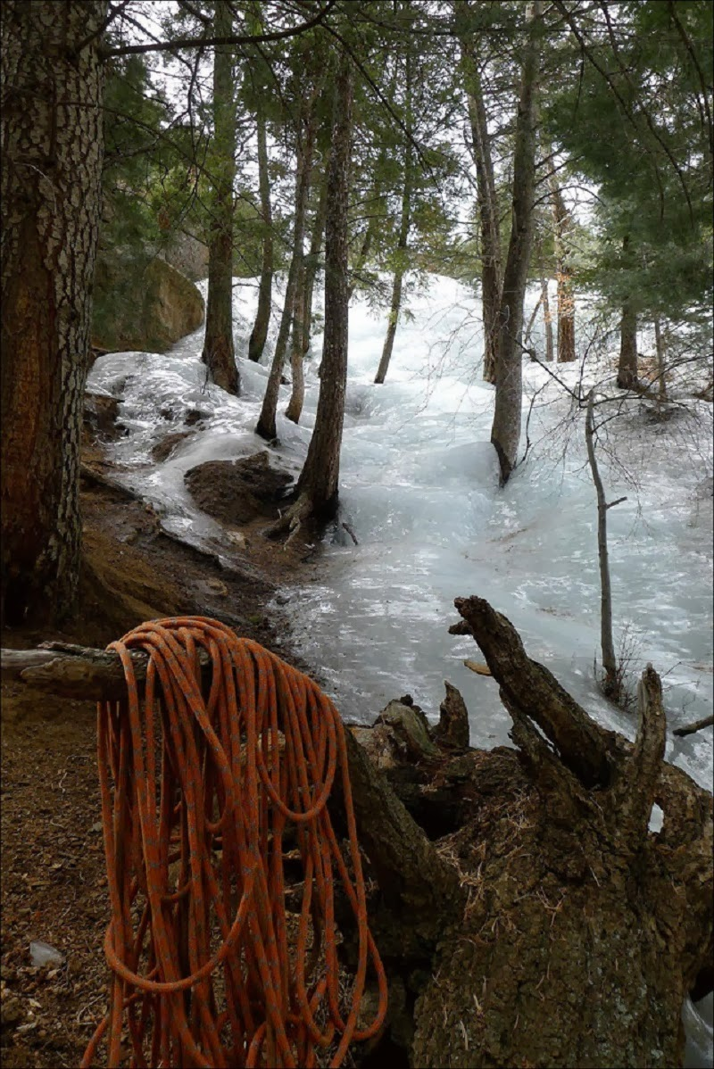 Snow Melts And Flash-Freezes Into Icy Downhill River