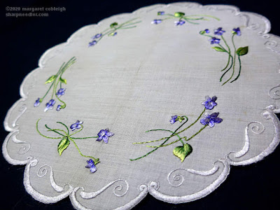 Highlighted silk threads on completed Society Silk violets centrepiece