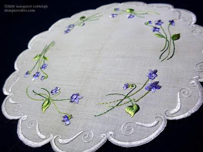 Society Silk Violets: Highlighted silk threads on completed Society Silk violets centrepiece