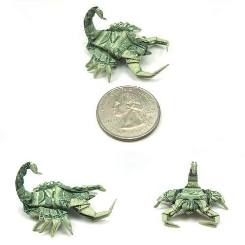 Origami en billetes de dollar.