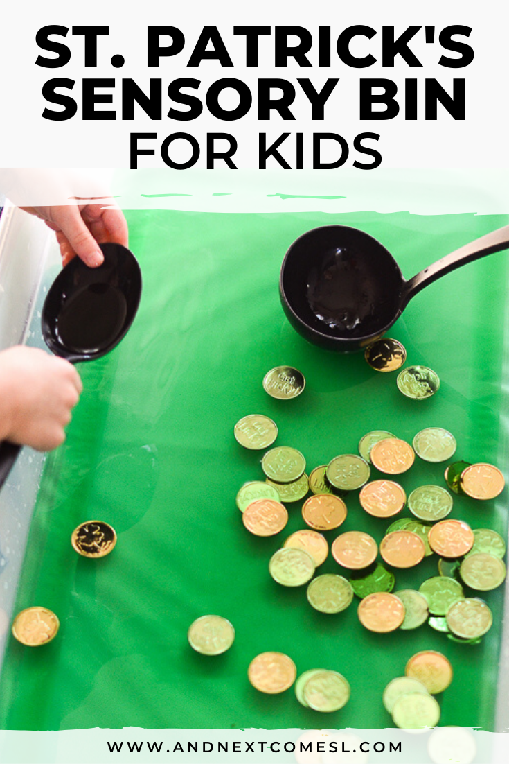 St. Patrick's Day sensory soup - a fun St. Patrick's Day sensory bin for toddlers and preschool sensory play