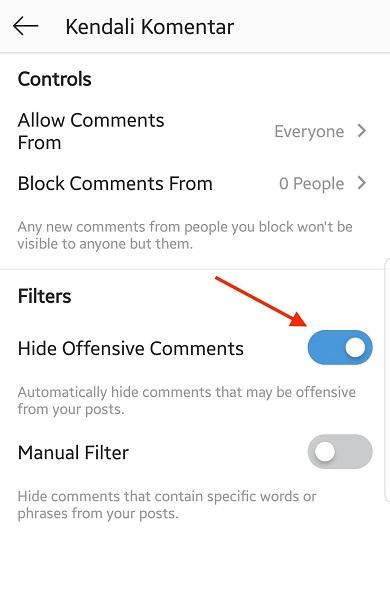 Kendali komentar di Instagram