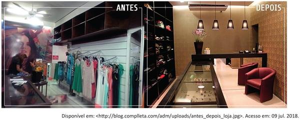 imagens a seguir retratam as fases antes e depois de uma reforma em uma loja de roupas e acessórios femininos