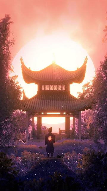 Wallpaper Samurai Sunset Pagoda Full HD