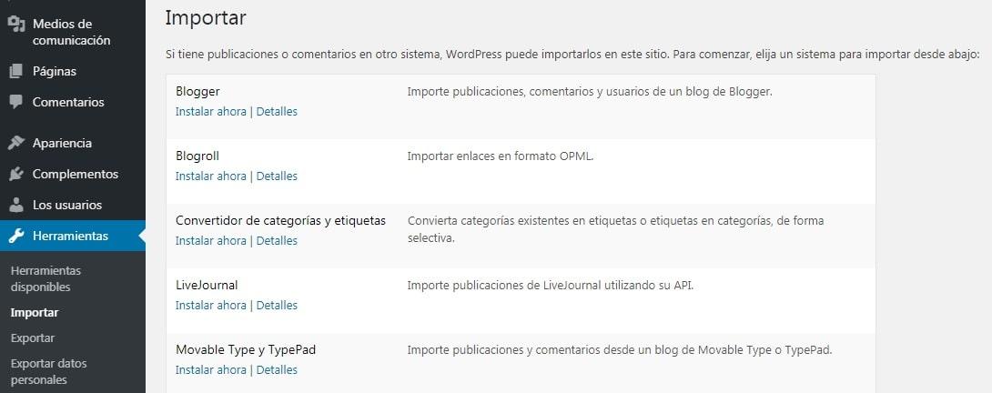 Pantalla para importar publicaciones a WordPress