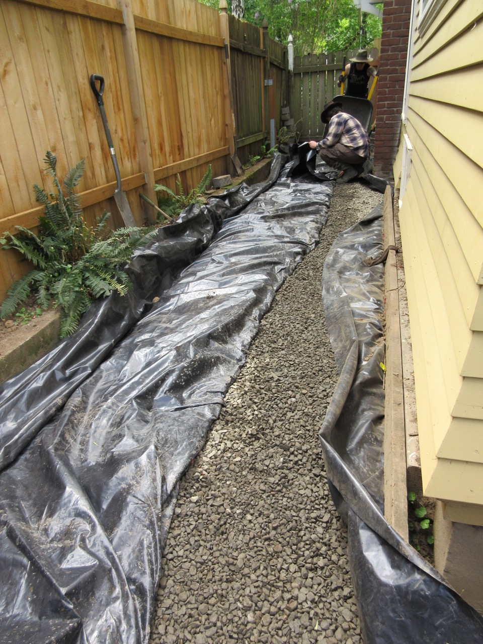 Laurelhurst craftsman bungalow french drain finished for What does a french drain look like