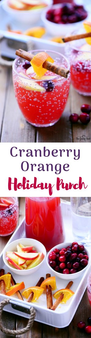 Cranberry Orange Holiday Punch #cocktail #drinks