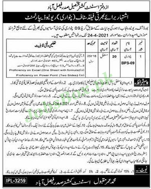 revenue-department-faisalabad-jobs-2021-advertisement