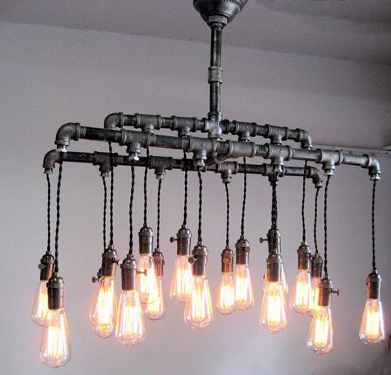 Desain lampu gantung unik dari pipa besi bekas