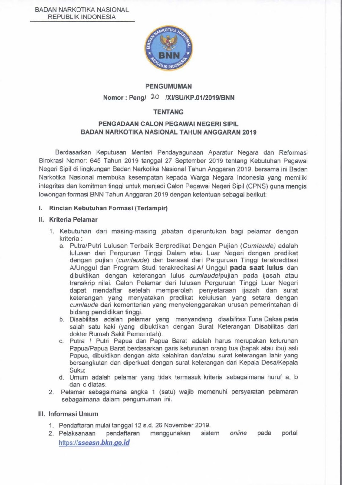 Lowongan CPNS Badan Narkotika Nasional Tahun Anggaran 2019 (154 Formasi)