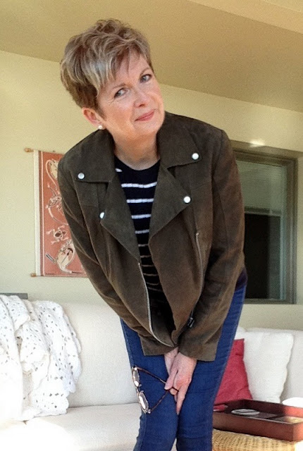 Twiggy suede biker jacket by Marks and Spencer, Brooks brothers sweater