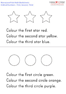 MamaLovePrint 數學工作紙 - 認識序數 (First, Second and Third) 幼稚園工作紙 Ordinal Numbers Exercises Activities Kindergarten Worksheet Free Download 3D Shapes for kids Sphere Cylinder Cone