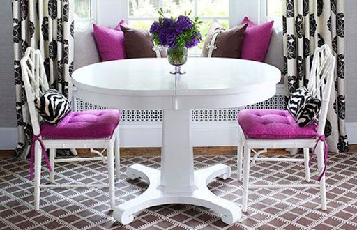 dining chair with purple cushions